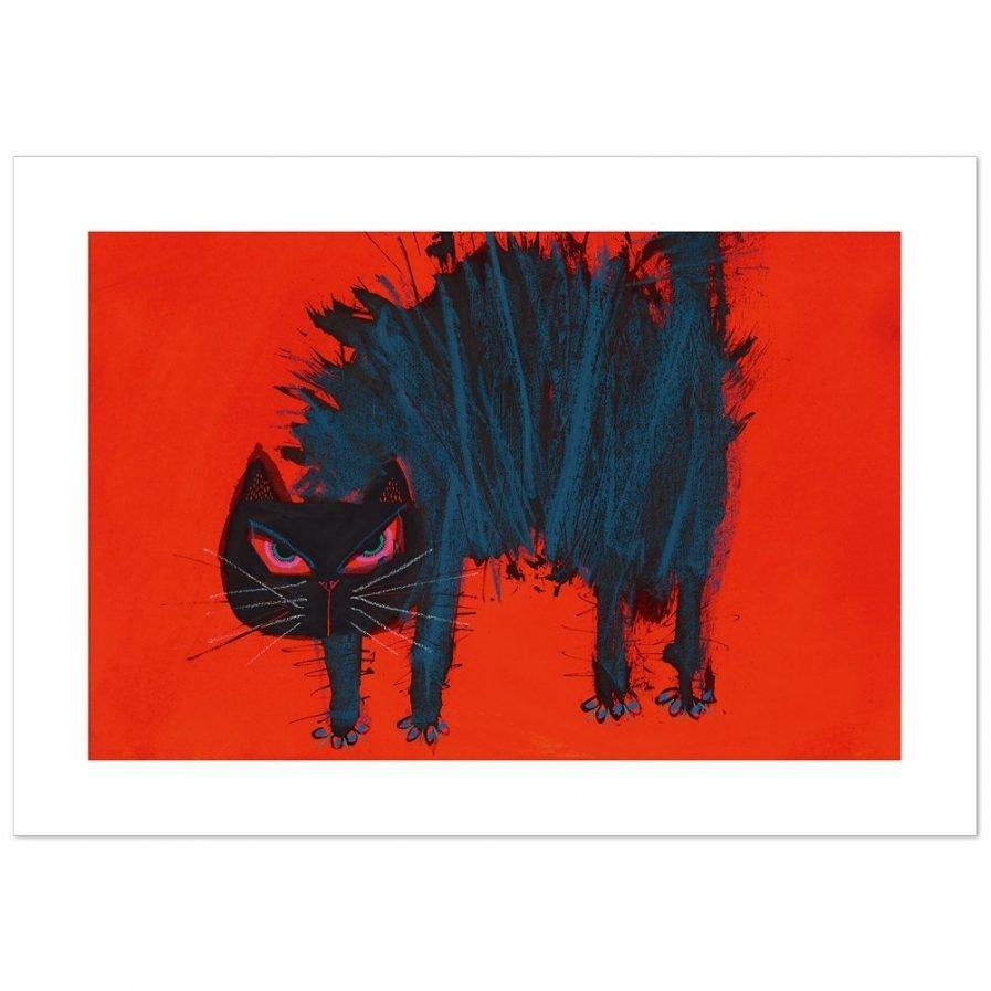 We zien een kat in het nauw. Gebolde rug; kleuren overwegend rood en zwart.